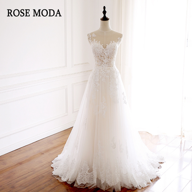 Rose Moda Boho Wedding Dress Lace Backless Wedding Dresses
