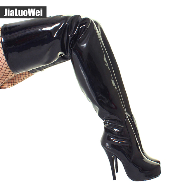 Jialuowei ultra 15CM high heel Classical Women Crotch High Boots over the knee Platform Round Toe Zipper fetish Thin High Shoes