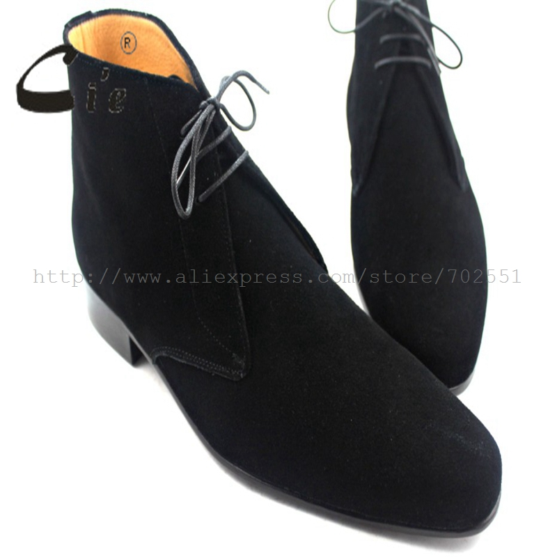 cie Free Shipping Custom Bespoke Handmade Pure Genuine Calfskin Leather Outsole Men's Boots color black suede Soft Casual No.A35 стоимость