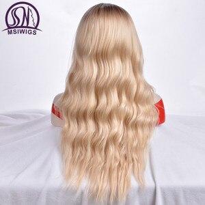 Image 4 - MSIWIGS Lange Ombre Blonde Pruiken voor Vrouwen Synthetisch Haar Krullend Pruiken Grauwe Grijs Natuurlijke Wortel Cosplay Haar Hittebestendige