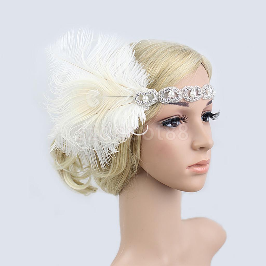 Vintage Woman Elastic Feather Headband 1920s Gatsby Party Charleston Party Rhinestone Forehead Decorations