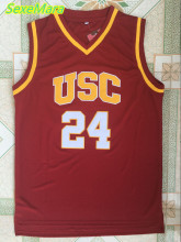 SexeMara Mens Brian Scalabrine 24# USC Trojans College Throwback Basketball Jersey Stitched Red Shirt Free Shipping