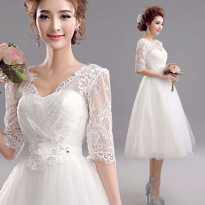 Hot~Sweet Exquisite Half Sleeve Short Style Wedding Bridesmaid Dress 597