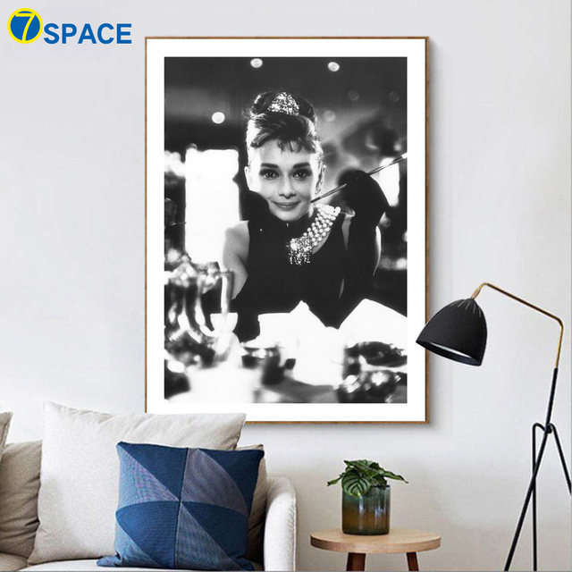 7 Space Audrey Hepburn Wall Art Print Canvas Painting Nordic Poster Black  White Movie Star Wall Pictures For Living Room Decor