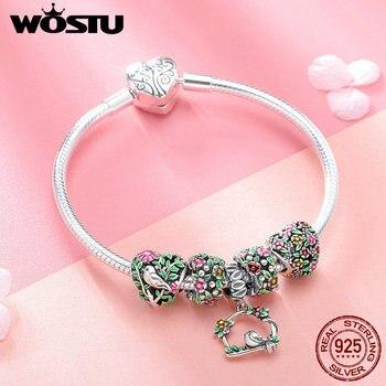 WOSTU Top Sale 925 Sterling Silver Spring Flowers, Leaves & Bird Charm Bracelet For Women Fashion Brand Bead Jewelry Gift BKB804