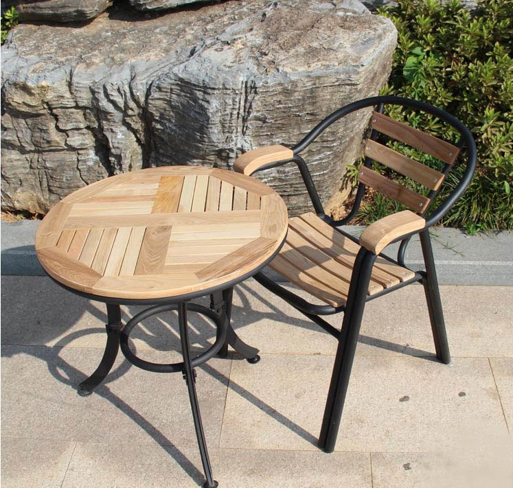 Iron And Wood Patio Furniture combination of solid wood tables and chairs, wrought iron outdoor