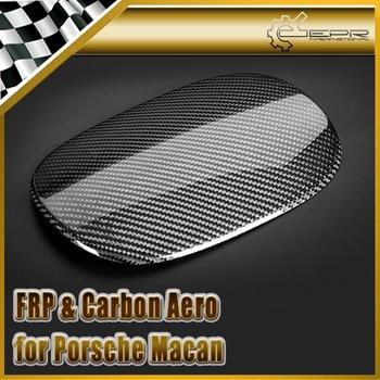 Car-styling For Porsche Macan Carbon Fiber Fuel Cap Cover Fibre Fuel Tank Cap LHD