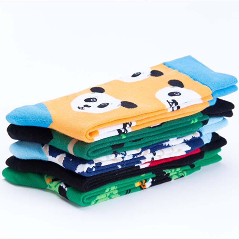 Men's Socks Skateboard Fashion Animal Rhinoceros Bird Panda Mens Socks Europe Usa Hip Hop Street Crew Funny Socks