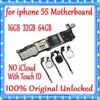 16GB 32GB 64GB para la placa base del iPhone 5S con la identificación táctil/sin la identificación táctil, 100% Original desbloqueado para la placa principal de iPhone 5S