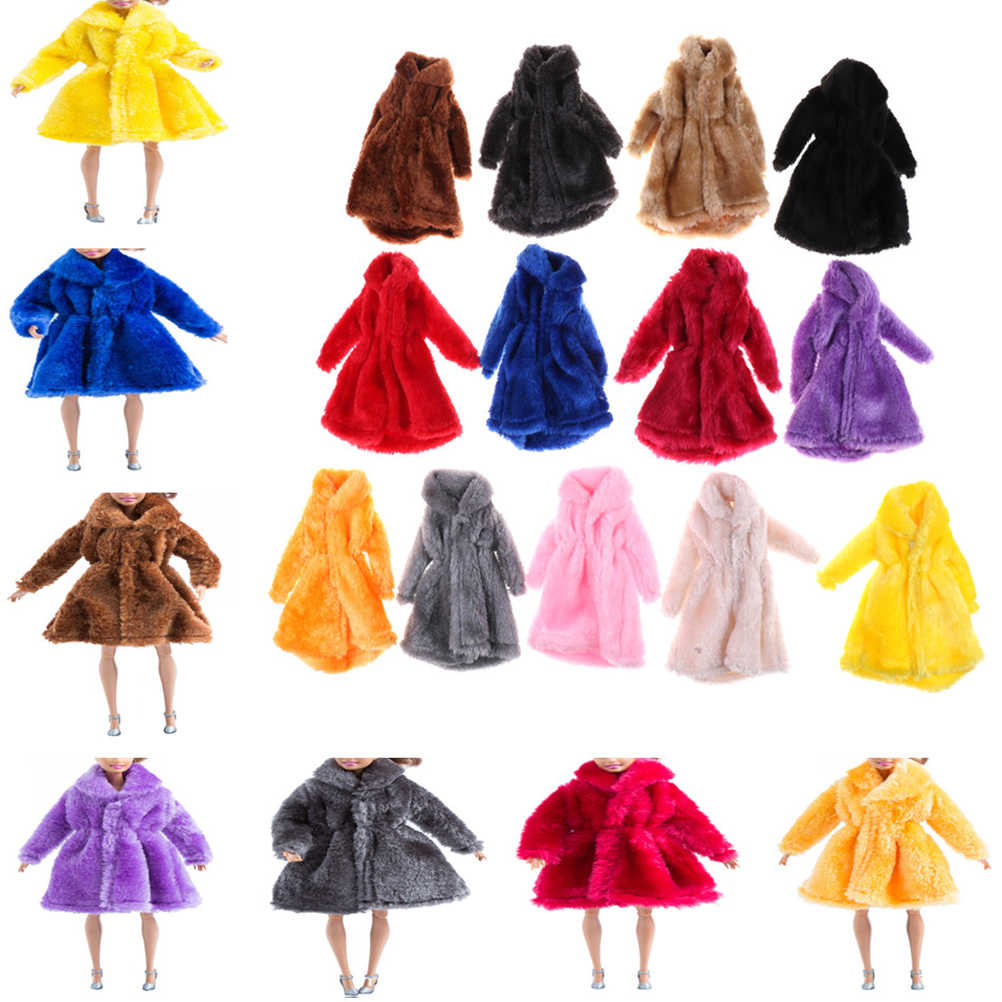 1PCS Colorful Fur Coat Mini Clothes For Barbie Winter Warm Wear Dolls Fur Doll Clothing Kids Toy Doll Accessories