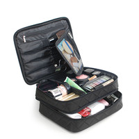 Double Layer Black Cosmetics Bag High Capacity Travel Bags Wash Makeup Organizer Pouch Beauticians Case Accessories