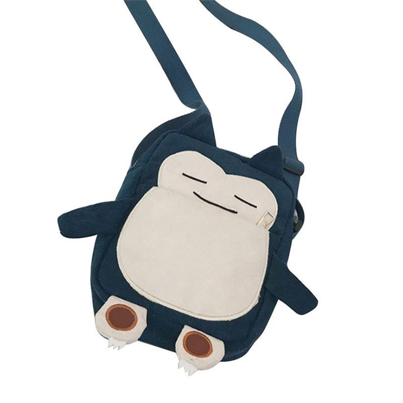 Handbag Purse-Bag Embroidery Phone Gift Monster Snorlax Pokemon Small Corduroy Cartoon