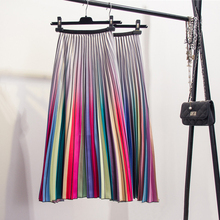 Fashion Contrast High Waist Pleated Skirt 2019 Spring Summer Skirts Womens Elastic Waist A Line Midi Skirt Mid Calf Long Skirts