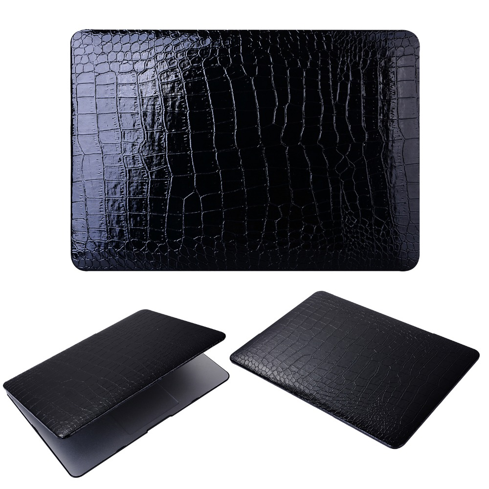 Luxury Crocodile Coque for Macbook Air 11 13 Retina 12 Laptop Case Protective PC Cover for Macbook Pro 13 15Touch Bar Case contrast lace applique t shirt