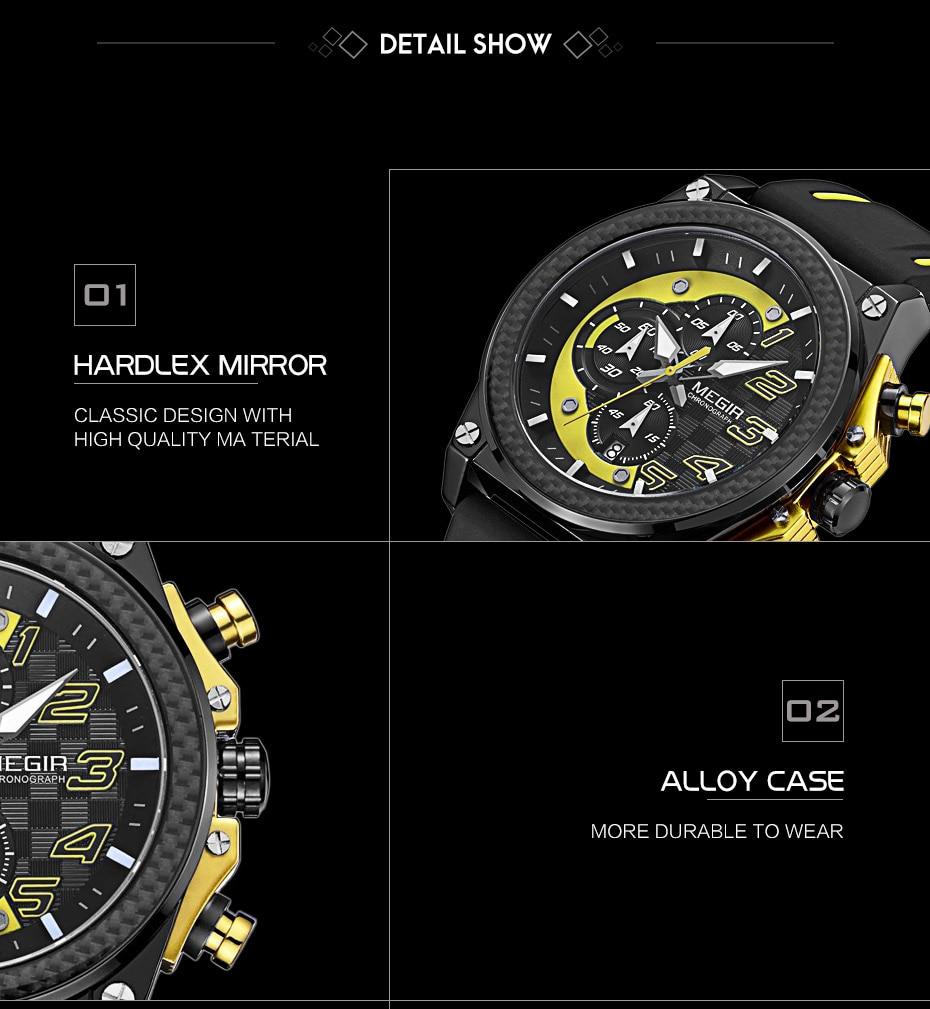MEGIR Men Sport Quartz Watches 2051