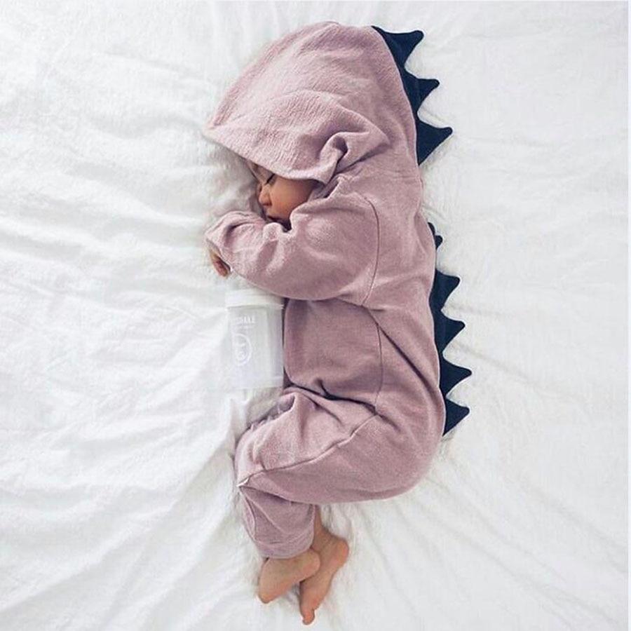 Cartoon Dinosaur Design Hooded Baby Pajacyki Noworodka Odzież - Odzież dla niemowląt - Zdjęcie 3