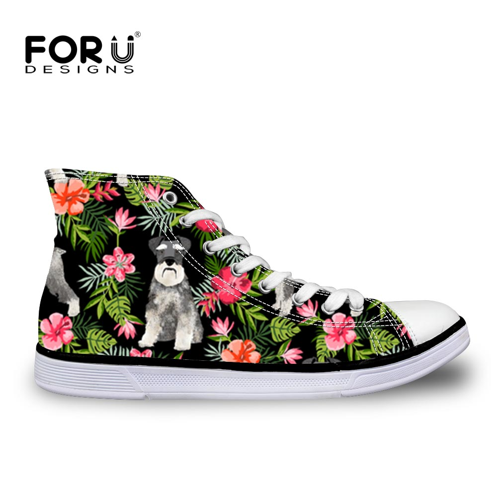 FORUDESIGNS Fashion Cute Schnauzer High Top Canvas Sneakers Shoes Women Classic Lace-up Vulcanized Girl Flats Leisure Shoe