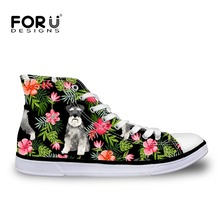 FORUDESIGNS Fashion Cute Schnauzer High Top Canvas Sneakers Shoes Women Classic Lace-up Vulcanized Shoes Girl Flats Leisure Shoe
