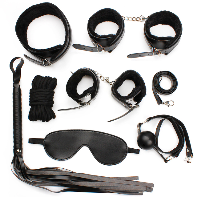 IKOKY 8 pcs/set Adult Games Leather Bondage Sex Kits Set Hand Cuffs Whip Rope Mask Fetish Restraints SM for married couples