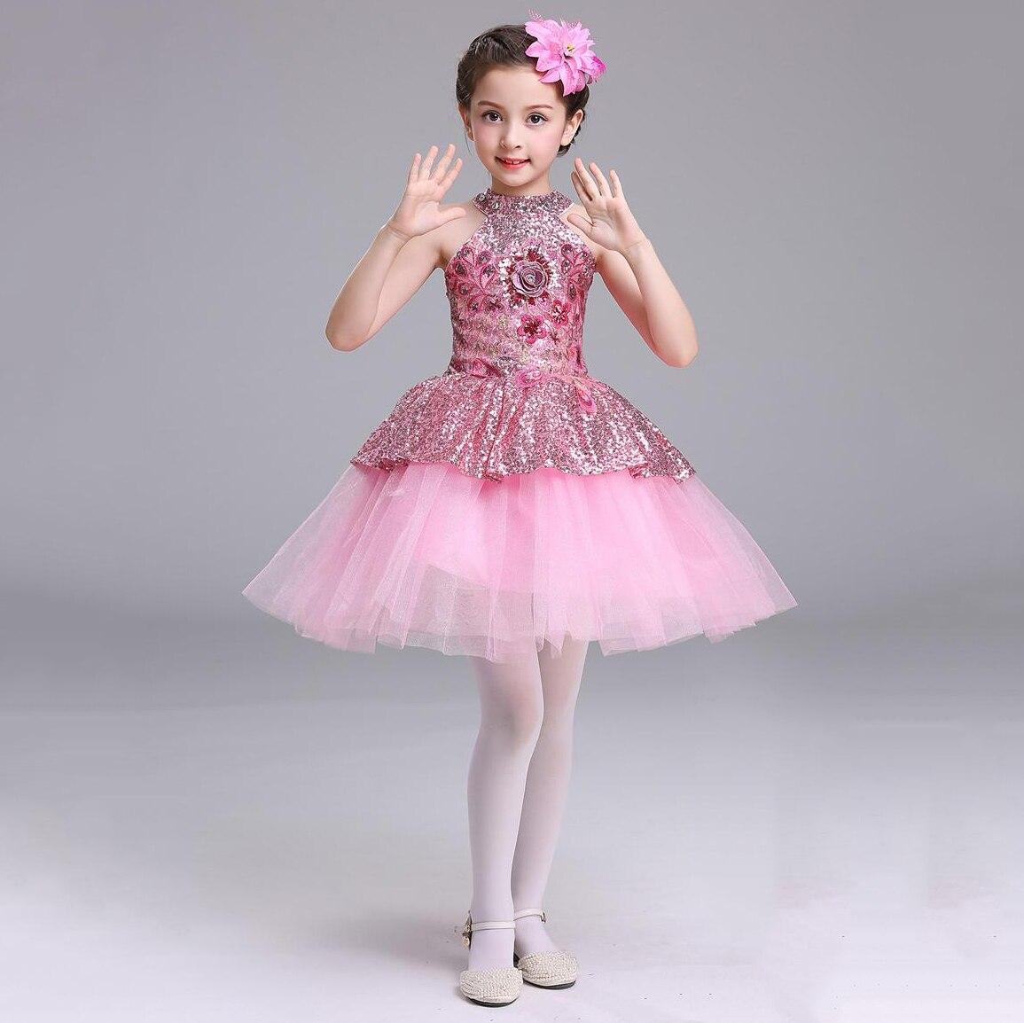 TB48 New Arrival 2019 Shoulderless Blingbling Sequins Pageant   Dresses   for   Girls   Short Pink   Flower     Girl     Dress