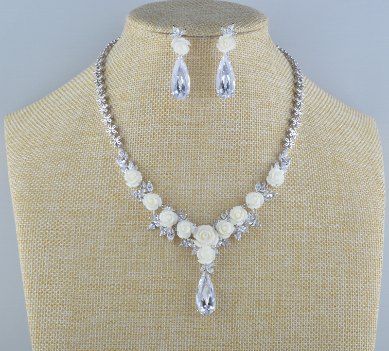 Bridal Wedding Necklace sets AAA Cubic Zirconia Porcelain Flower Marquise Type high quality For Party Dress Jewelry sets