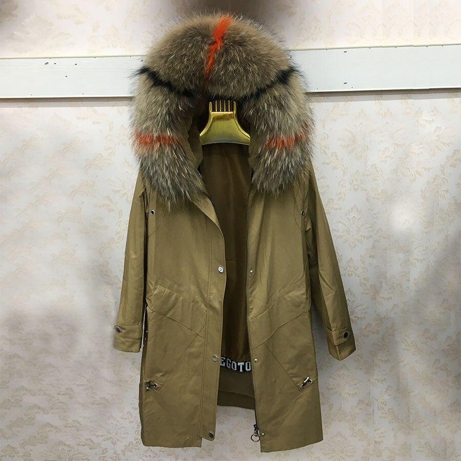 Vera pelliccia parchi con rifiniture in pelliccia cappuccio di buona qualità dei capelli del coniglio vescica interna delle donne cappotto di pelliccia