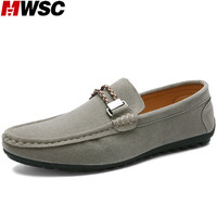 MWSC Autumn Suede Leather Man Loafers Shoes Fashion Casual Men Slip On Charm Soft Light Shoes