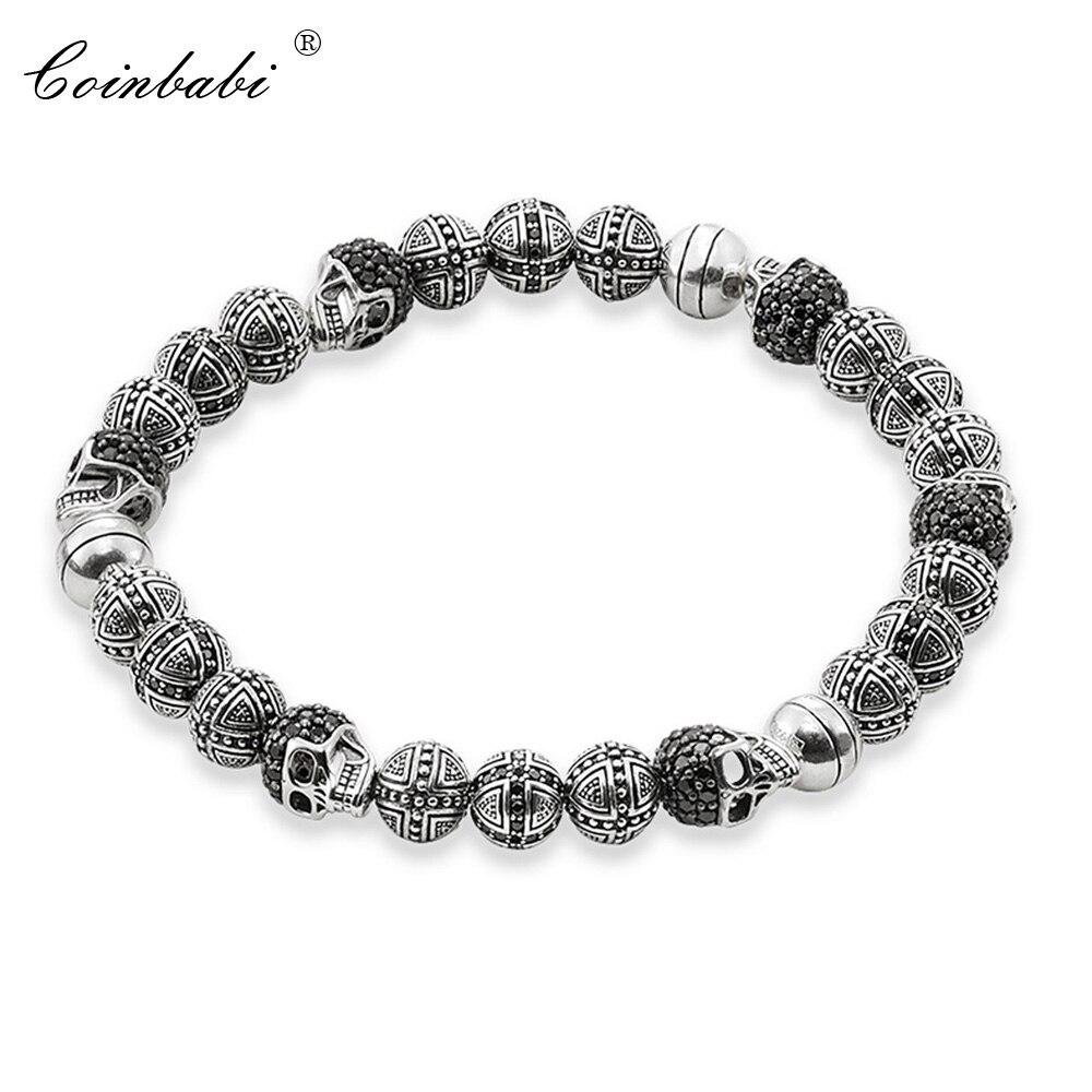 Thomas Rebel Skulls & Cross Ts Hero Bead Elastic Bracelet from Heart Style, Ts 2017 925 Sterling Silver Fashion Jewelry for Men