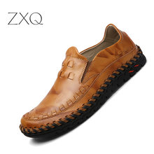 Fashion Genuine Leather Mens Shoes Casual Big Size 38-46  Handmade Italy Design Driving Men Flat Footwear