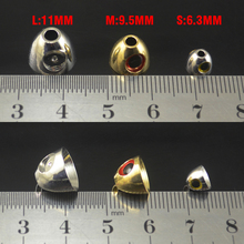 MNFT New 12Pcs/Lot Fly Tying Materials Fly Cone Heads With 3D Brass Cone Eyes Silver,Gold Color For Streamer Trout Fly Fishing
