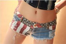 High Waist Shorts 2016 Straight Shorts Skirts Striped Low Polyester Fly Top Women Europe And America Styled New Hole Women's G1