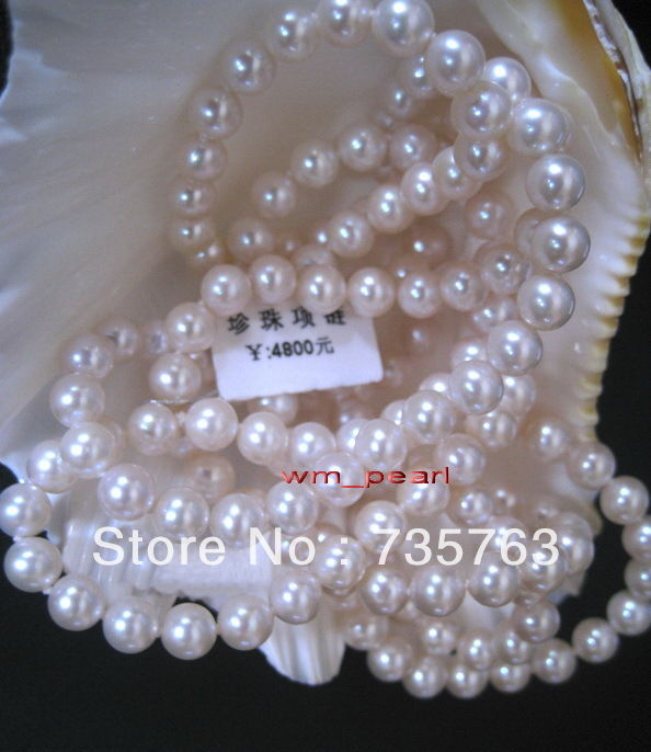 "HOT N99 AAAAA+48""8-9mm NATURAL South sea perfect round white pearl necklace"