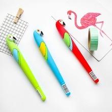 3pcs Cartoon bird parrot gel pen 0.5mm Blue color ink pens Stationery items gift Office School supplies Canetas escolar F217 цена