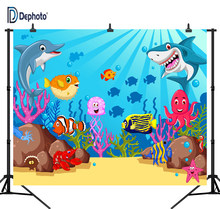 DePhoto Baby Shark Birthday Party photography backdrops Cartoon Coral Underwater Poster Photo Background Backdrops Photo Studio(China)