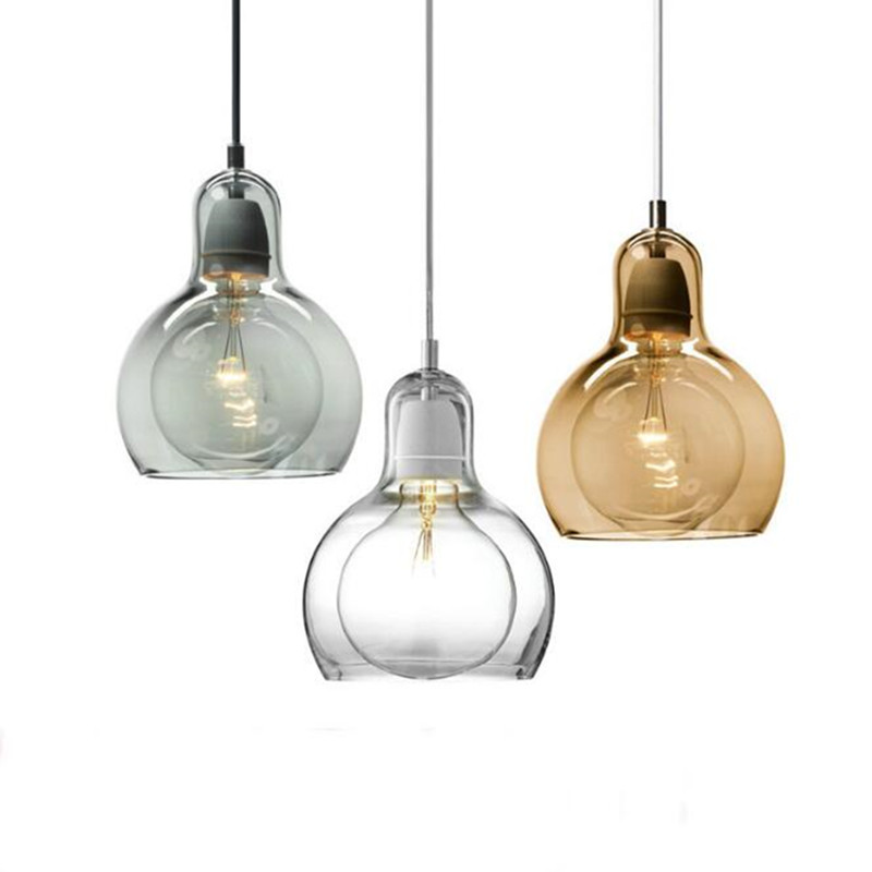 Nordic Simple Style Glass Dining Room Pendant light Edison Bulbs Art Bedroom Bar Light Free Shipping edison inustrial loft vintage amber glass basin pendant lights lamp for cafe bar hall bedroom club dining room droplight decor