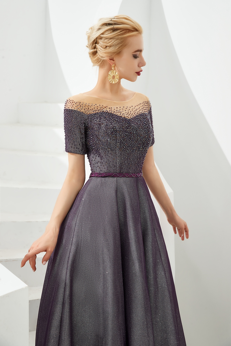 Stock 2019 Scoop Neck A Line Luxurious Beaded Sequined Evening Dresses Elegant Long Robe Femme Short Sleeve Formal Prom Gowns in Evening Dresses from Weddings Events
