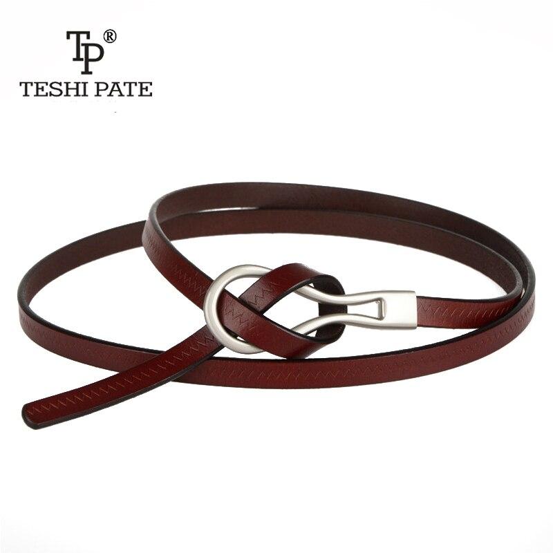 TESHI PATE 2018Import cuero de vaquero cinturón de cuero de moda de cuero salvaje cinturón fino vestido de las mujeres falda con vestido de suéter cinturón