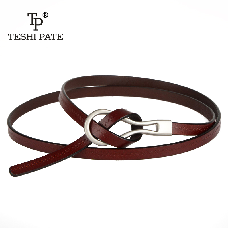 TESHI PATE 2018Import leather cowboy leather   belt   fashion wild leather thin   belt   women dress skirt with sweater dress   belt