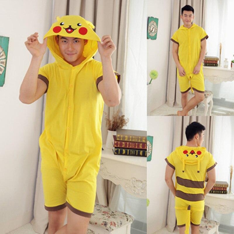 Wholesale Summer Animal Onesies Cartoon Unisex Adult Pikachu Onesie Cosplay Costume Cotton Sleepwear Pajamas Sets