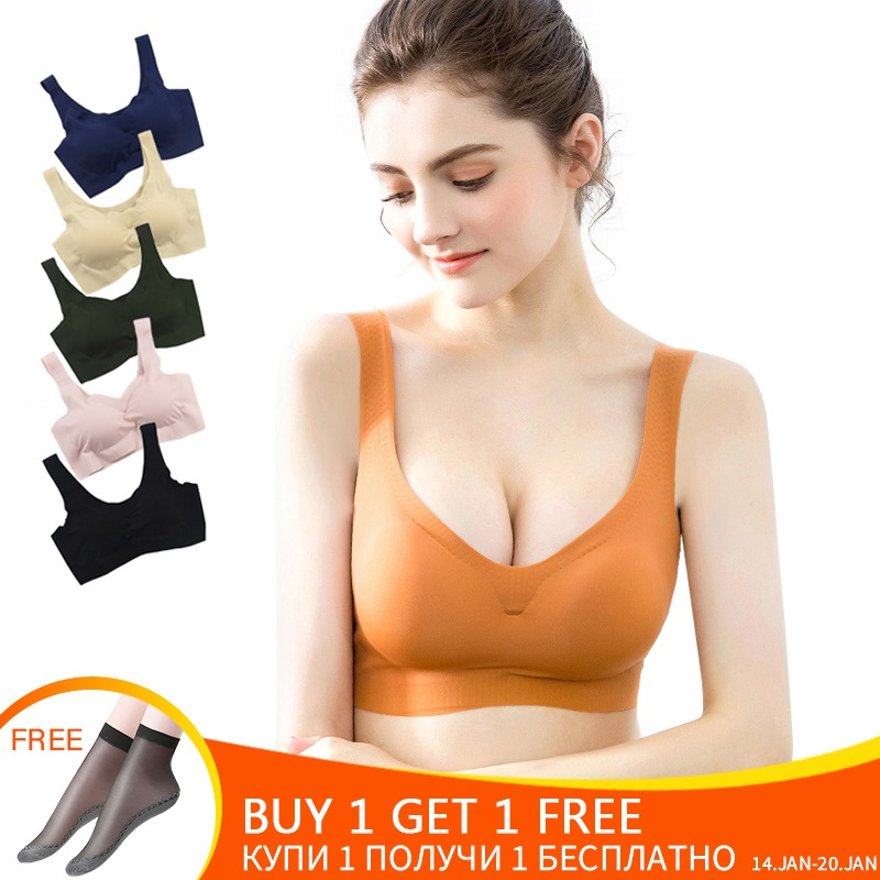 178c16e256c Sexy Bras For Women Seamless Sport Bra Push Up Vest Wire Free Lingerie  Padded Brassiere Bralette