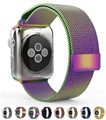 Para a apple watch band aço inoxidável banda iwatch ranbow colorido milanese malha alça pulseira clássico 42mm 38mm