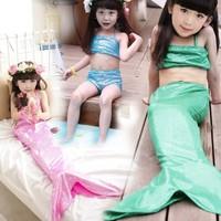 Retail New Frozen 2015 Summer Baby Girl Swimwear Three Pieces Swimsuit Design Cute Little Mermaid Set