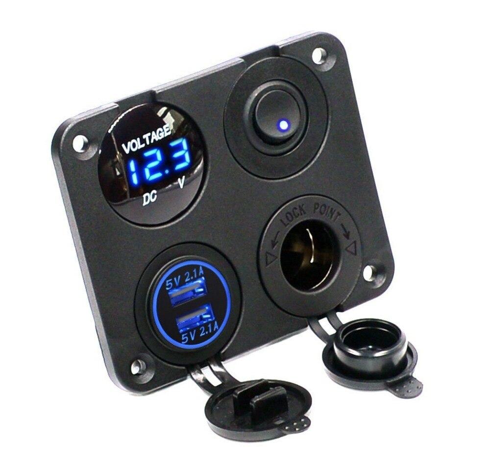 Dual USB socket cargador 2.1A y 2.1A + LED del voltímetro + 12 V enchufe + on-off interruptor cuatro funciones panel para el barco del coche