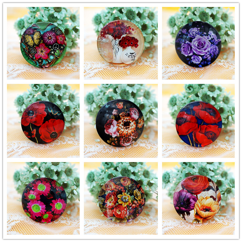 High grade 10PCS/lot Round 8-20mm flower Pattern Glass Cabochon for Cameo Base Setting Jewelry Accessories hand made Supplies