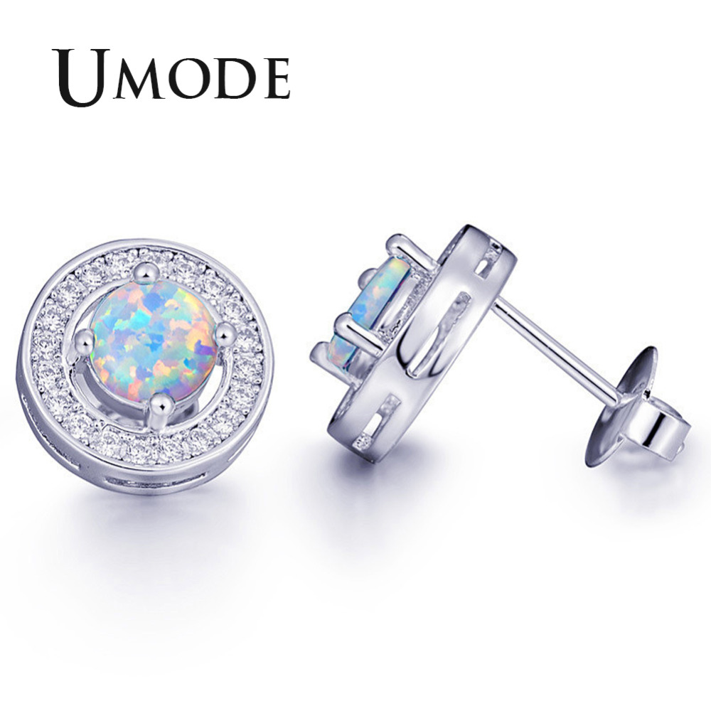 f2873af6d UMODE Fashion White Gold Stud Earrings for Women Party Opal Earrings  Zirconia Jewelry 2018 Pendientes Mujer