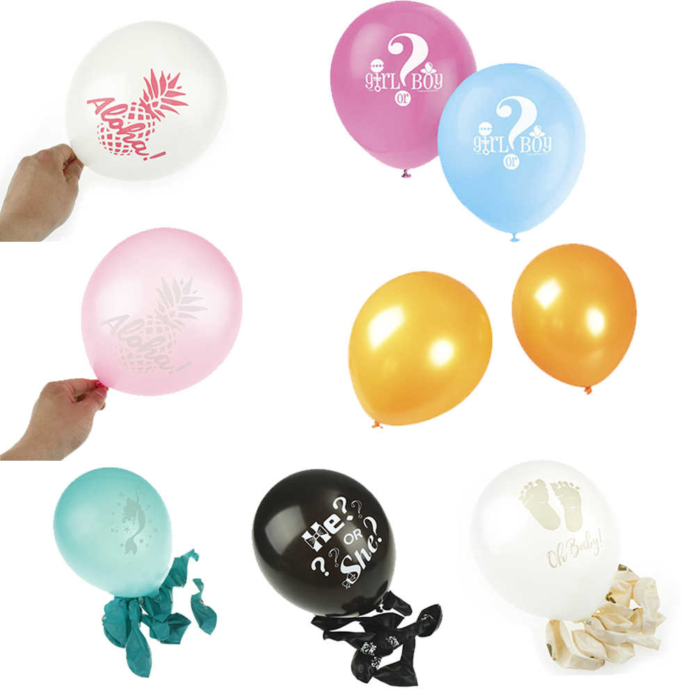 12 pulgadas 10 Uds. Sirena/ella dijo Yaaas/piña/huella Baby Shower/oro/Negro látex globos para fiesta de boda decoración