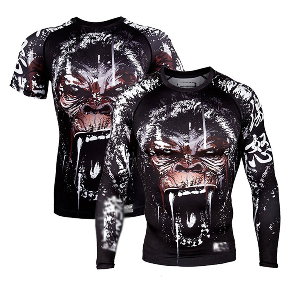 Rashguard Mma Boxing T-Shirts Men BJJ Muay Thai Mma Monkey Kickboxing Shirts Boxe Fitness Fighting Boxing Jerseys Mma Clothing