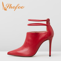 Red Black High Stilettos Pointed Toe Ankle Boots Thin Heels Woman Zipper Large Size 11 15 For Ladies Booties Shoes Fashion 2019