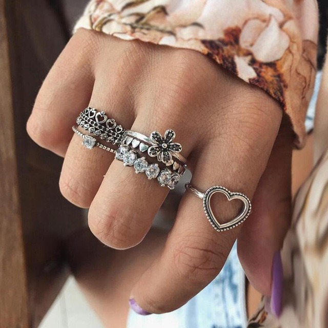 HuaTang Bohemian Antique Silver Ring Geometric Elephant Flower Green Rhinestone Knuckle Rings Midi Finger Anel Rings Jewelry 67