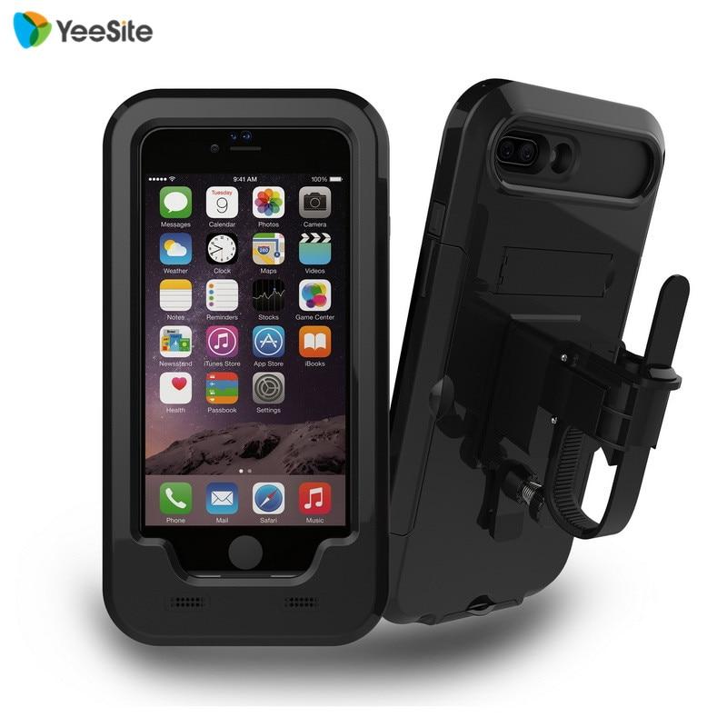 imágenes para Nueva impermeable manillar titular de montaje para iphone 7 plus motocicleta ciclismo deporte al aire libre a prueba de golpes caso